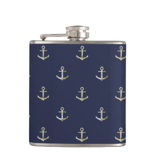Navy blue nautical anchor flasks