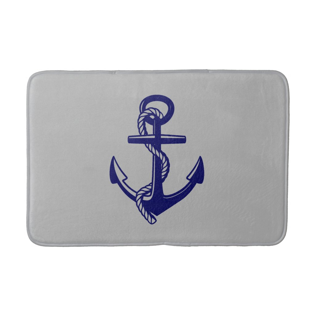 Navy Blue Nautical Anchor Grey Bath Mat