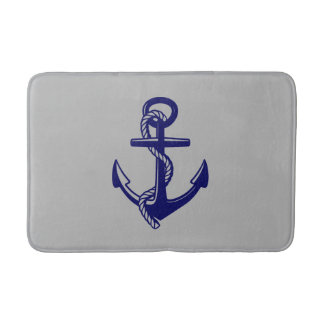 Navy Blue Nautical Anchor Grey Bath Mat Bath Mats