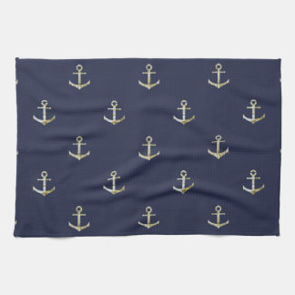 Navy blue nautical anchor hand towels