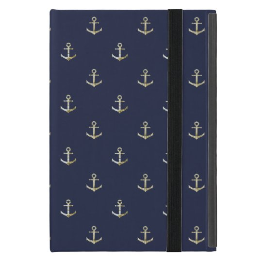 Navy blue nautical anchor iPad mini case