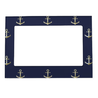 Navy blue nautical anchor magnetic frame