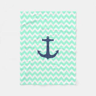 Navy Blue Nautical Anchor Mint Blue Chevron Fleece Blanket