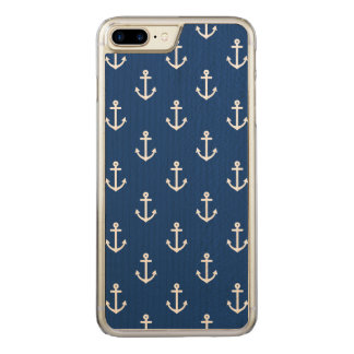 Navy Blue Nautical Anchor Pattern Carved iPhone 8 Plus/7 Plus Case