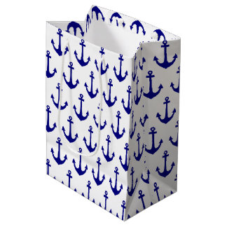 Navy Blue Nautical Anchor Pattern Medium Gift Bag