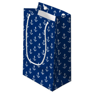 Navy Blue Nautical Anchor Pattern Small Gift Bag
