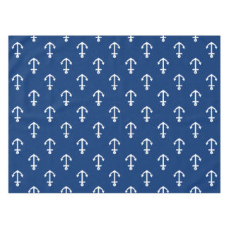 Navy Blue Nautical Anchor Pattern Tablecloth