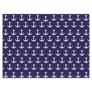 Navy Blue Nautical Anchor Pattern Tissue Paper