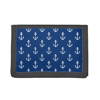 Navy Blue Nautical Anchor Pattern Tri-fold Wallet