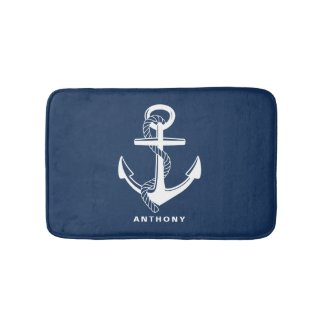 Navy Blue Nautical Anchor Personalised Bath Mat