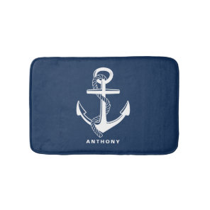 Navy Blue Nautical Anchor Personalised Bath Mat