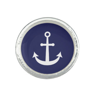Navy Blue Nautical Anchor Rings