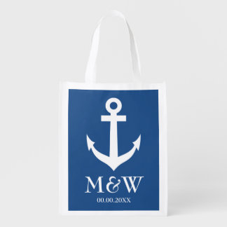 Navy blue nautical anchor reusable wedding bag reusable grocery bag