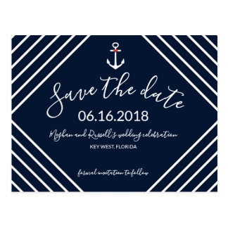 Navy Blue Nautical Anchor Save the Date Postcards