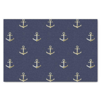 Navy blue nautical anchor tissue paper