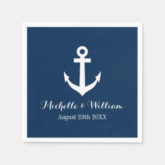 Navy blue nautical anchors aweigh wedding napkins disposable napkin
