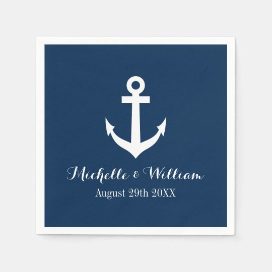 Navy blue nautical anchors aweigh wedding napkins paper