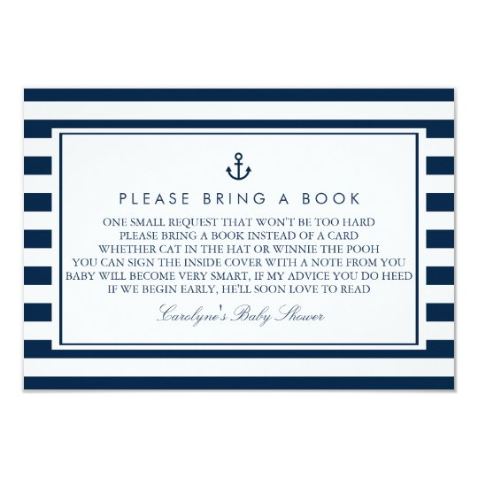 Navy Blue Nautical Baby Shower Please Bring a