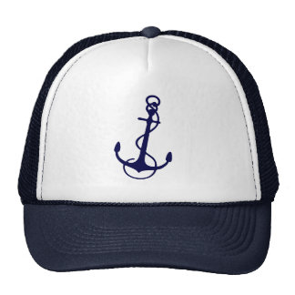 Navy Blue Nautical Boat Anchor Cap