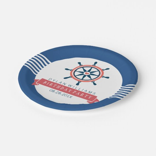 Navy Blue Nautical Boat Wheel & Stripes Paper