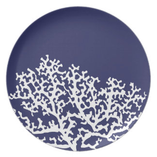 Navy Blue Nautical Coral Plate