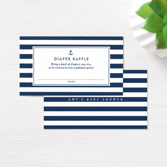Navy Blue Nautical Diaper Raffle Baby Shower Game