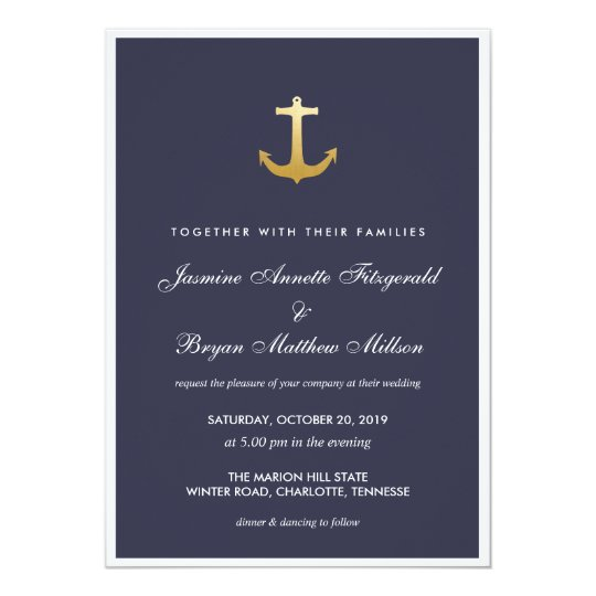 Navy Blue Nautical Faux Gold Foil Anchor Wedding