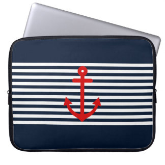 Navy Blue Nautical Laptop Sleeve