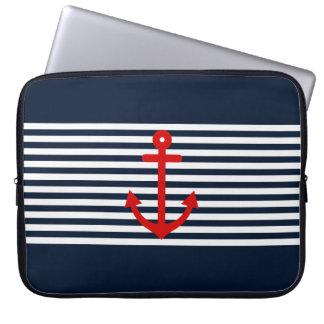 Navy Blue Nautical Laptop Sleeve