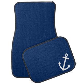 Navy Blue Nautical Love Anchor Car Mat