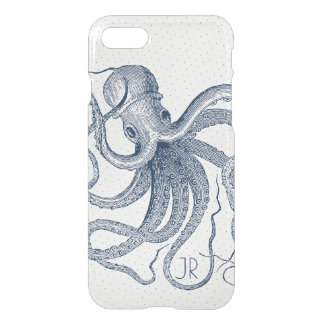 Navy-Blue Nautical Octopus Vintage Illustration iPhone 8/7 Case