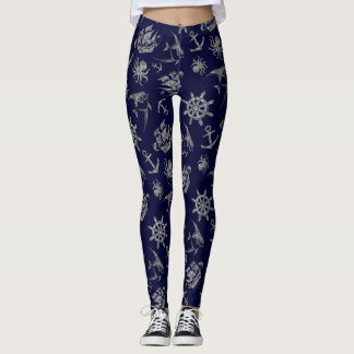 Navy blue nautical pattern leggings
