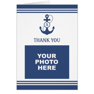 Navy Blue Nautical Photo Thank You Card