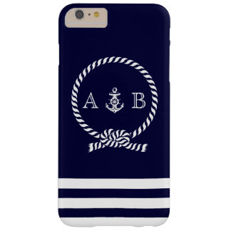 Navy Blue Nautical Rope and Anchor Monogrammed Barely There iPhone 6 Plus Case