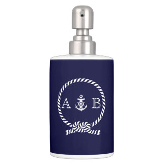 Navy Blue Nautical Rope and Anchor Monogrammed Bathroom Set
