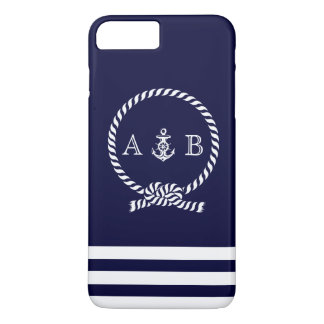 Navy Blue Nautical Rope and Anchor Monogrammed iPhone 8 Plus/7 Plus Case