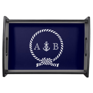 Navy Blue Nautical Rope and Anchor Monogrammed Serving Tray