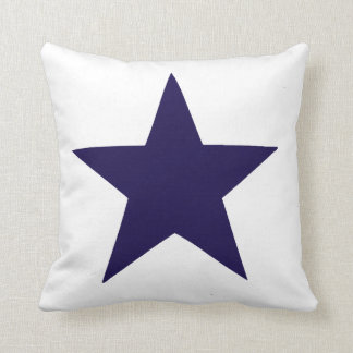 Navy blue nautical star on white background cushion
