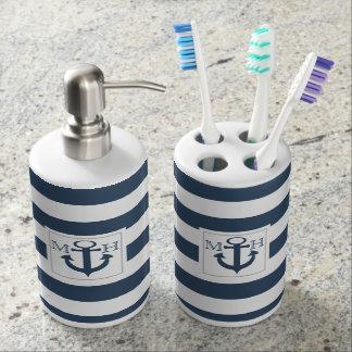 Navy Blue Nautical Stripe and Anchor with Monogram Bathroom Set
