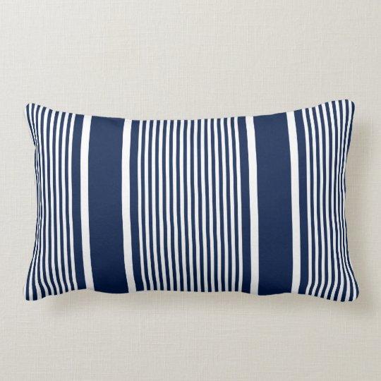Navy Blue Nautical Striped Pillow