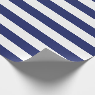 Navy Blue Nautical Stripes Wrapping Paper