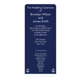 Navy Blue Nautical Wedding Ceremony Programs Cards 10 Cm X 24 Cm Invitation Card