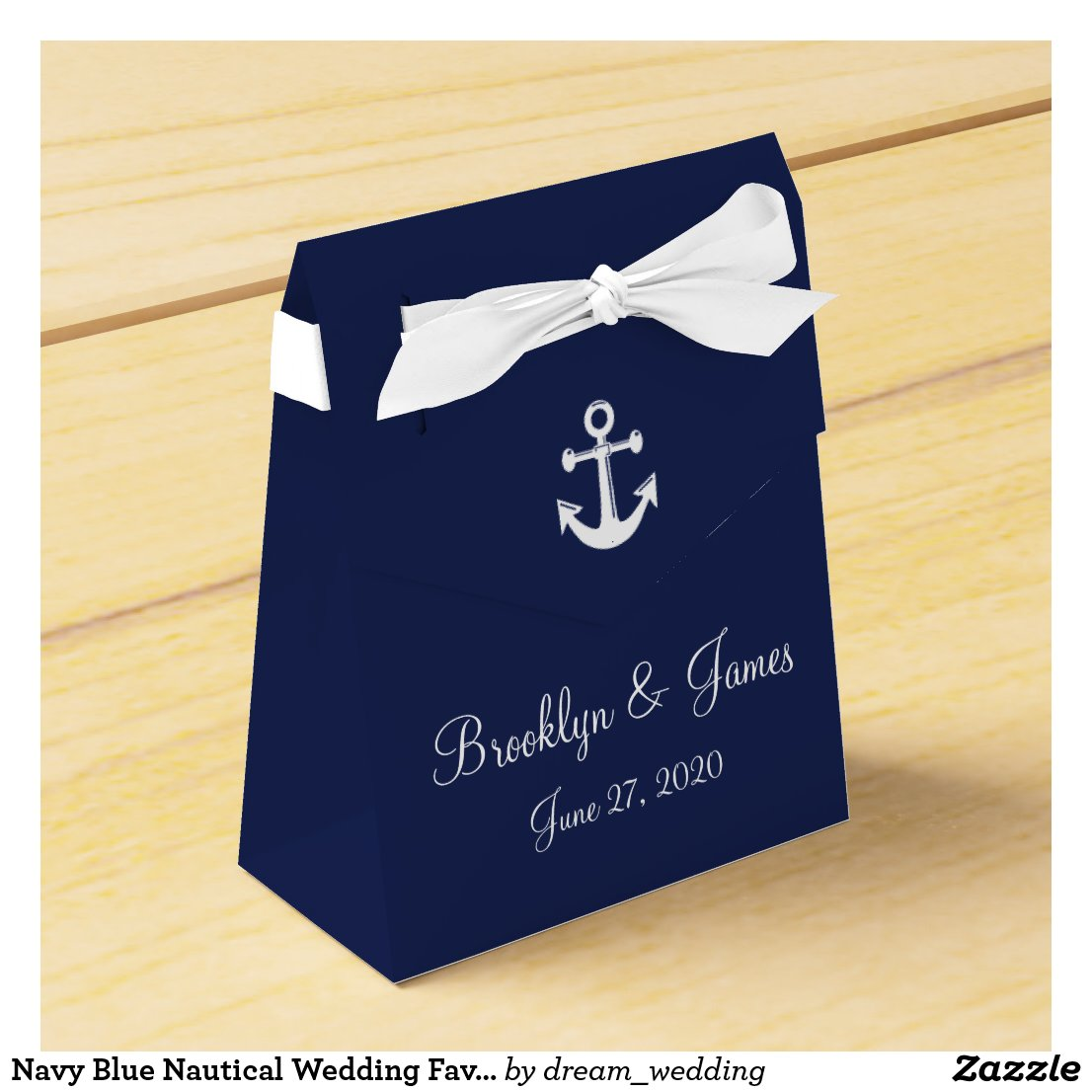 Navy Blue Nautical Wedding Favour Boxes With