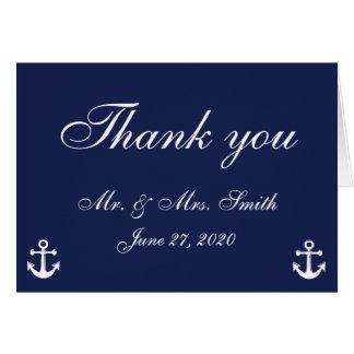 Navy Blue Nautical Wedding Thank You Cards