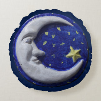 Navy Blue Night Sky Crescent Moon Round Cushion