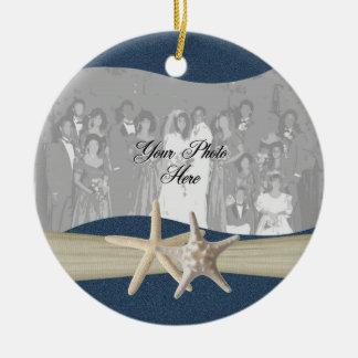 Navy Blue Ocean Starfish Photo Christmas Ornament