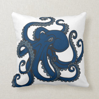 Navy Blue Octopus Cushion