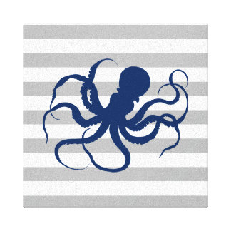 Navy Blue Octopus Gray and White Stripes Canvas Print