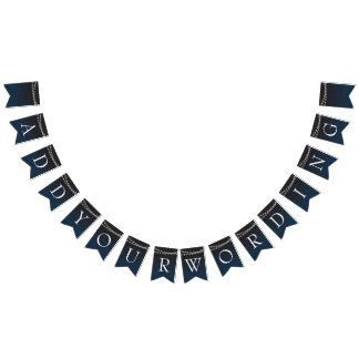 Navy Blue Ombre Lights Typography Wedding Bunting