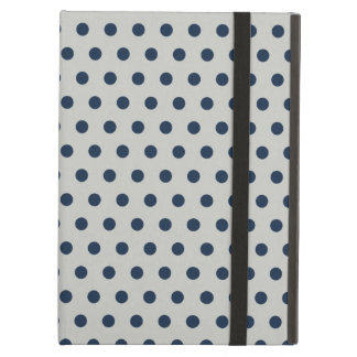 Navy Blue on Gray Tiny Little Polka Dots Pattern iPad Air Cover